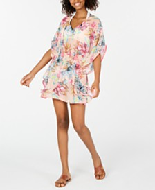 Miken Juniors' Printed Smocked-Waist Cover-Up Dress, Created for Macy's