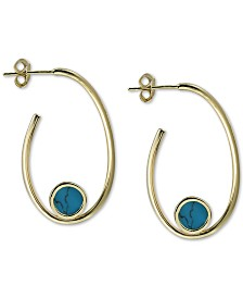 Argento Vivo Reconstituted Turquoise Stone Hoop Earrings in 18k Gold-Plated Sterling Silver