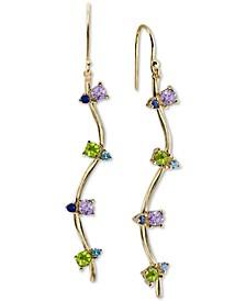 Cubic Zirconia Drop Earrings in 18k Gold-Plated Sterling Silver