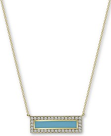 "Enamel & Cubic Zirconia Bar 18"" Pendant Necklace in 18k Gold-Plated Sterling Silver"
