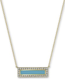 "Argento Vivo Enamel & Cubic Zirconia Bar 18"" Pendant Necklace in 18k Gold-Plated Sterling Silver"