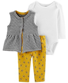 Baby Girls 3-Pc. Quilted Vest, Bodysuit & Floral-Print Leggings Set