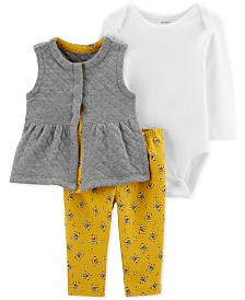 Carter's Baby Girls 3-Pc. Quilted Vest, Bodysuit & Floral-Print Leggings Set