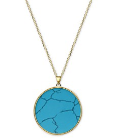 "Argento Vivo Reconstituted Turquoise 27"" Pendant Necklace in 18k Gold-Plated Sterling Silver"