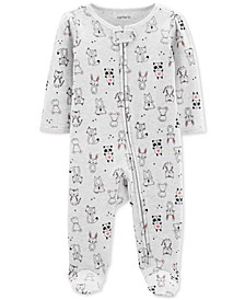 Baby Girls 1-Pc. Animal-Print Cotton Footed Pajamas