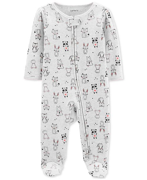 Carter's Baby Girls 1-Pc. Animal-Print Cotton Footed Pajamas