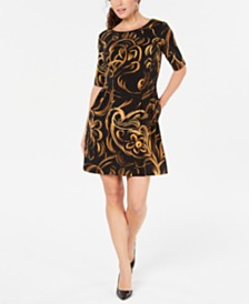 Connected Petite Printed Elbow-Sleeve Dress