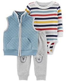 Baby Boys 3-Pc. Quilted Vest, Striped Bodysuit & Lion Pants Set