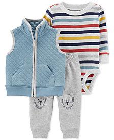 Carter's Baby Boys 3-Pc. Quilted Vest, Striped Bodysuit & Lion Pants Set