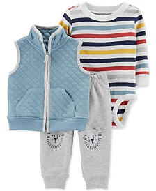 Carter's Baby Boys 3-Pc. Quilted Vest, Striped Bodysuit & Lion Pants Set