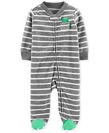 Carter's Baby Boys Striped Dinosaur Footed Coverall
