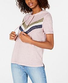 Juniors' Colorblock Stripe Short-Sleeved Hoodie