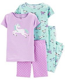 Little & Big Girls 4-Pc. Horses Cotton Pajama Set