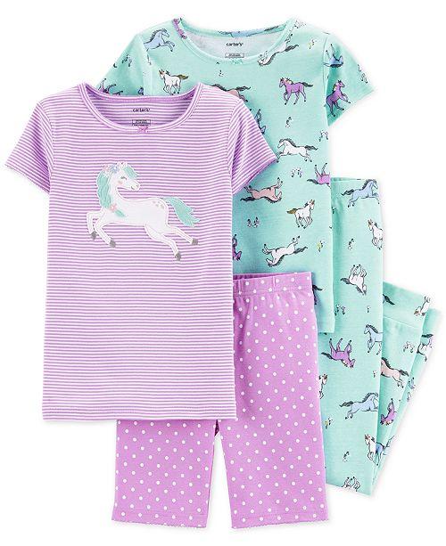 Carter's Little & Big Girls 4-Pc. Horses Cotton Pajama Set
