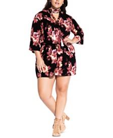 City Chic Trendy Plus Size Floral-Print Romper