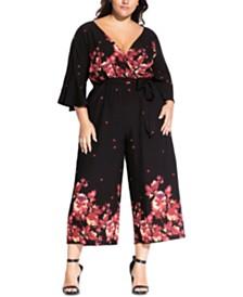 City Chic Trendy Plus Size Cropped Floral-Print Jumpsuit