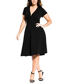 City Chic Trendy Plus Size Plunging A-Line Dress