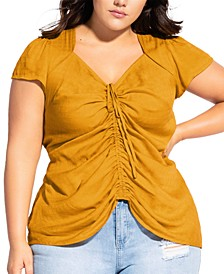 Trendy Plus Size Sweet Gathered Top