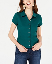 Juniors' Rib-Knit Button-Front Polo Shirt