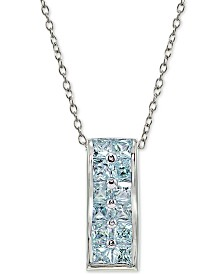 "Giani Bernini Aqua Cubic Zirconia 18"" Pendant Necklace in Sterling Silver, Created for Macy's"