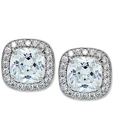 Giani Bernini Cubic Zirconia Square Halo Stud Earrings in Sterling Silver, Created for Macy's