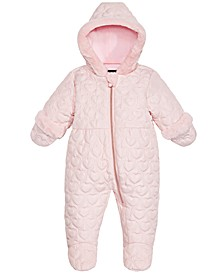 Baby Girls Hooded Quilted-Heart Footed Pram With Faux-Fur Trim