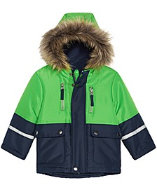 Baby Boys Hooded Colorblocked Jacket With Faux-Fur Trim