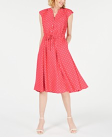 Anne Klein Dot-Print Cap-Sleeve A-Line Dress