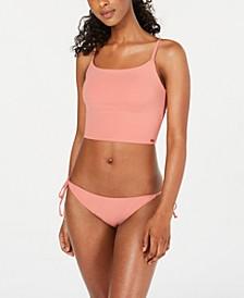 Juniors' Solid Beach Classics Tank Bikini Top & Side-Tie Bikini Bottoms