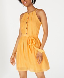 BCX Juniors' Button-Trimmed Gauze Dress