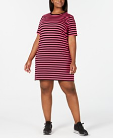 MICHAEL Michael Kors Plus Size Striped T-Shirt Dress