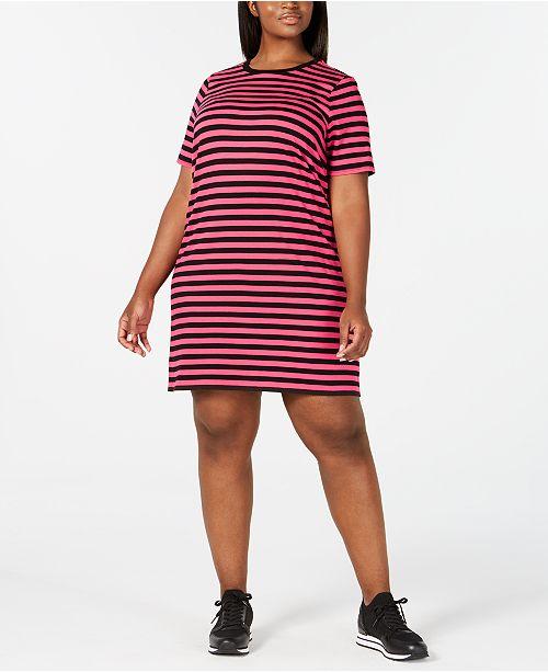 professional design color brilliancy nice cheap Plus Size Striped T-Shirt Dress