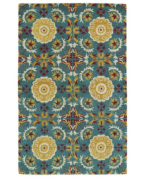 Kaleen Global Inspirations GLB06-78 Turquoise 2' x 3' Area Rug