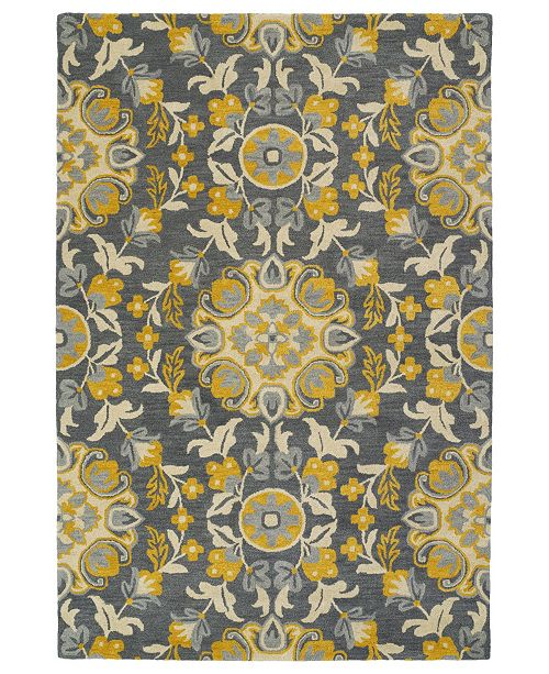 "Kaleen Global Inspirations GLB102-75 Gray 3'6"" x 5'6"" Area Rug"