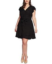Plus Size Button-Front Asymmetrical Dress