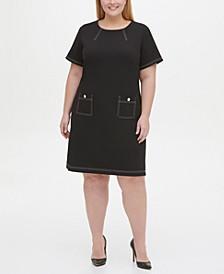 Plus Size Topstitch Pocket Dress