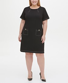 Tommy Hilfiger Plus Size Topstitch Pocket Dress