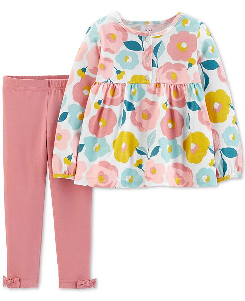 Carter's Toddler Girls 2-Pc. Floral-Print Top & Bow Leggings Set