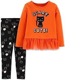 Toddler Girls 2-Pc. Scary Cat-Print Top & Printed Leggings Set