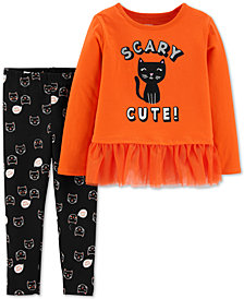 Carter's Toddler Girls 2-Pc. Scary Cat-Print Top & Printed Leggings Set
