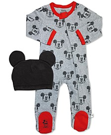 Baby Boys 2-Pc. Cotton Minnie Mouse Footed Coverall & Hat Set