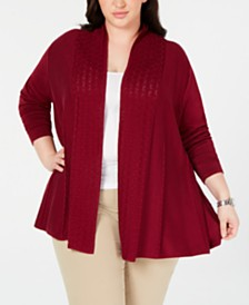Karen Scott Plus Size Pointelle-Trim Cardigan Sweater, Created for Macy's