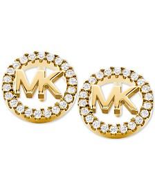 Michael Kors Sterling Silver Crystal Logo Stud Earrings