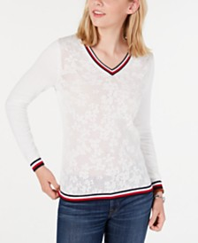 Tommy Hilfiger Cotton Pointelle Striped-Trim Sweater, Created for Macy's