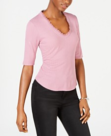 Self Esteem Juniors' V-Neck Ribbed Top