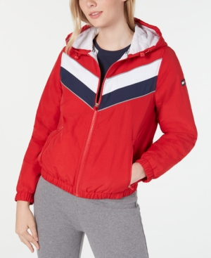 80s Windbreakers, Jackets, Coats Tommy Hilfiger Sport Varsity-Stripe Hooded Jacket $59.40 AT vintagedancer.com