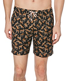 "Men's Tiger-Print 6"" Swim Trunks"