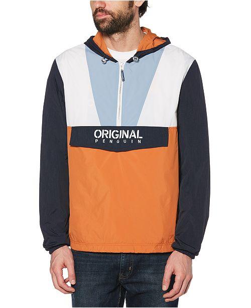 Original Penguin Men's Colorblocked Logo-Print 1/4-Zip Cagoule Jacket