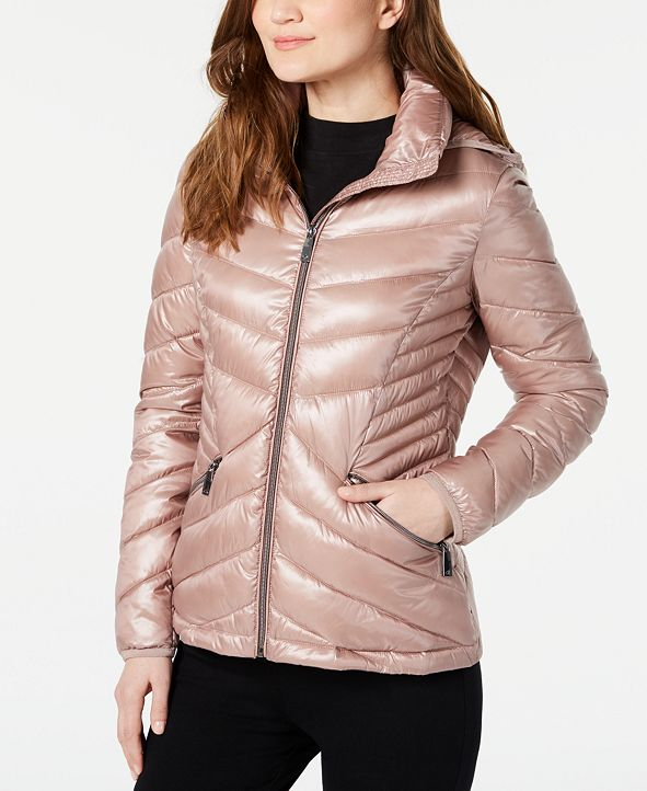 Calvin Klein Chevron Packable Down Puffer Coat, Created for Macy's