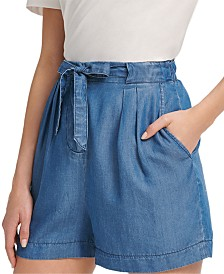 DKNY Drawstring Denim Shorts